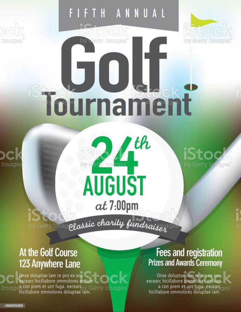 Green Golf tournament invitation design template on bokeh vector art illustration