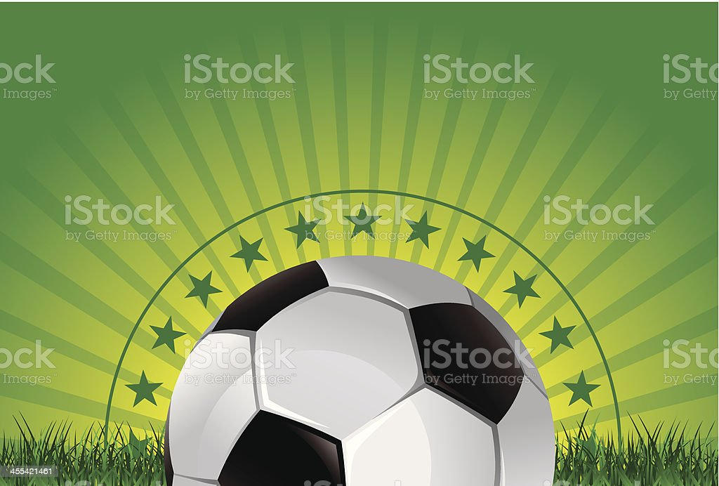 green gradient banner with soccer ball and high detailed grass royalty-free stock vector art