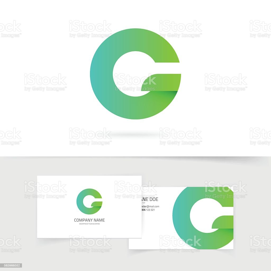 Green gradient letter g or q vector logo design isolated vector art illustration