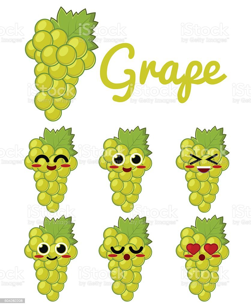 Green Grape Character vector art illustration