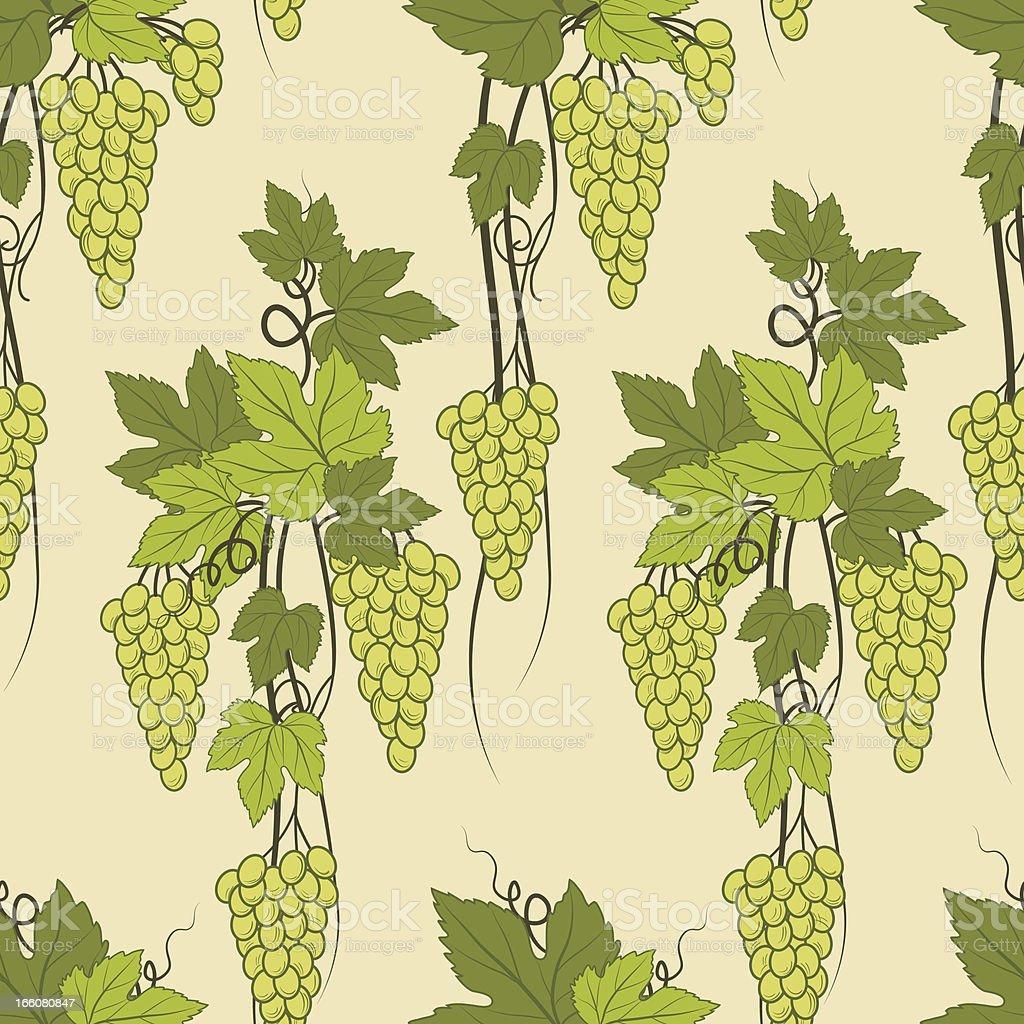 Green Grapes Repeating Pattern vector art illustration