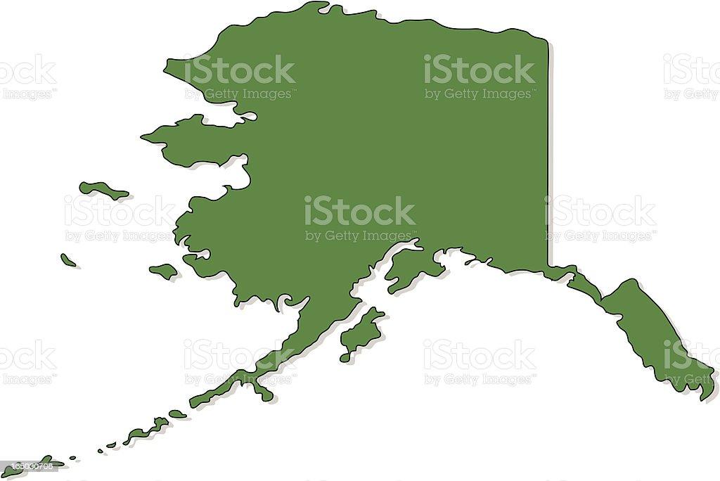 Green graphic image of map of Alaska vector art illustration