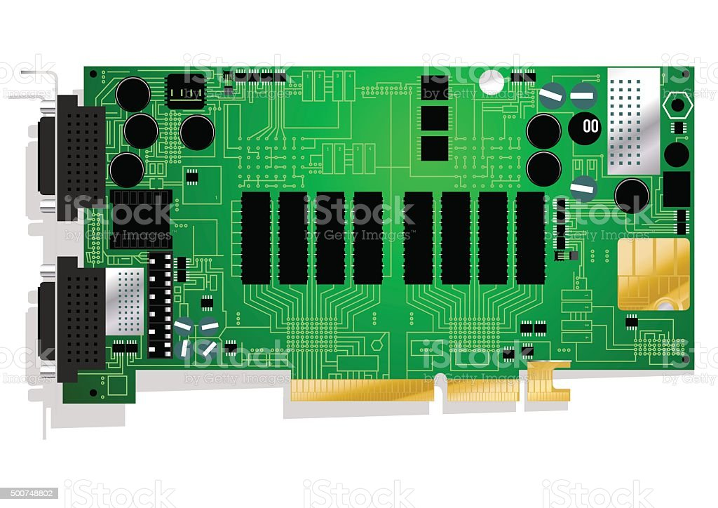 Green graphics card circuit board illustration on white backgrou vector art illustration