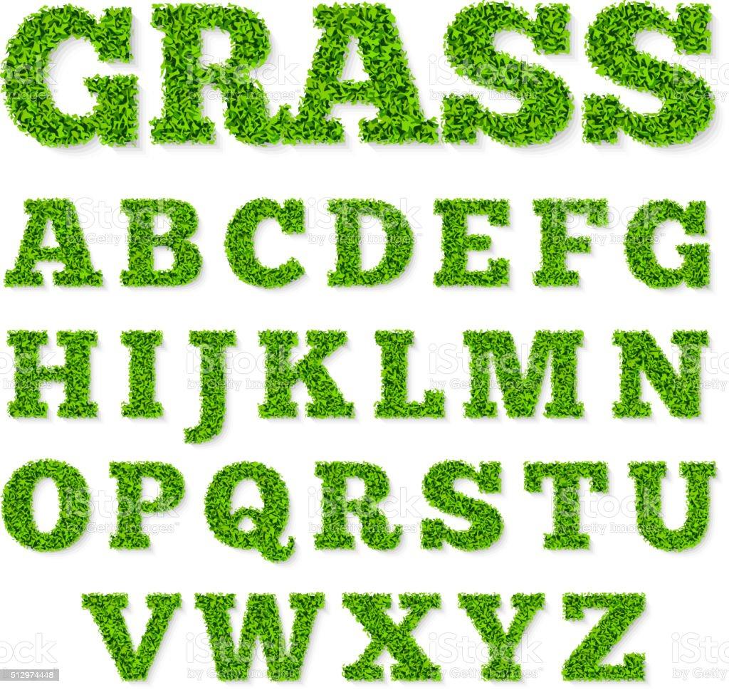 Green grass alphabet vector art illustration