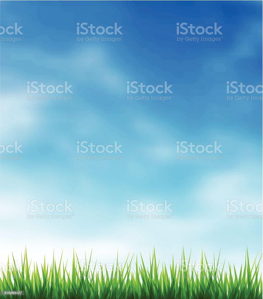 Green grass and blue sky vector art illustration