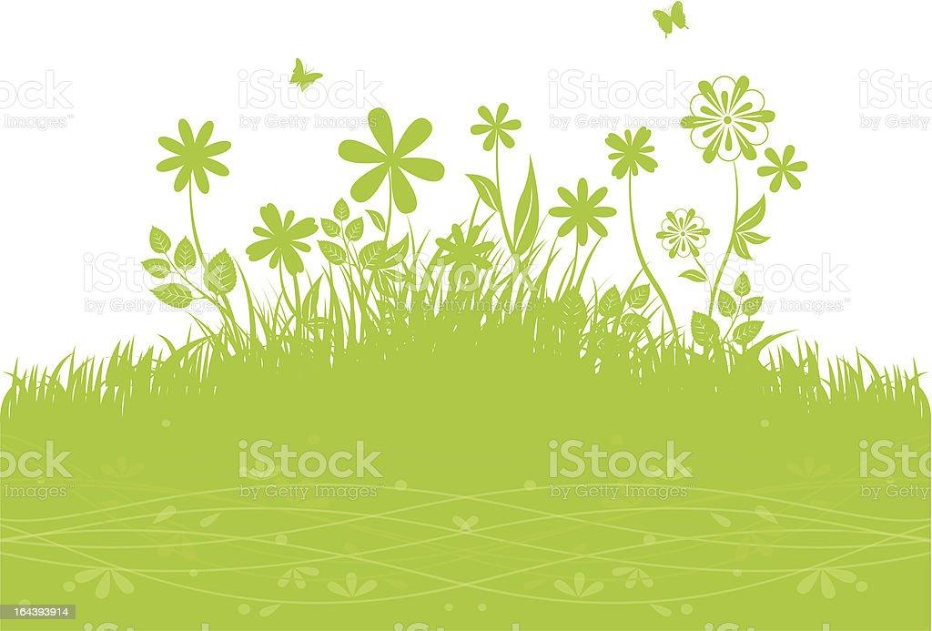 Green grass back vector art illustration