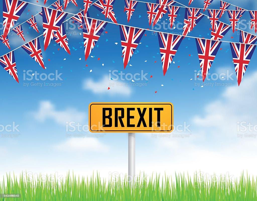Green grass, blue sky and UK flags vector art illustration
