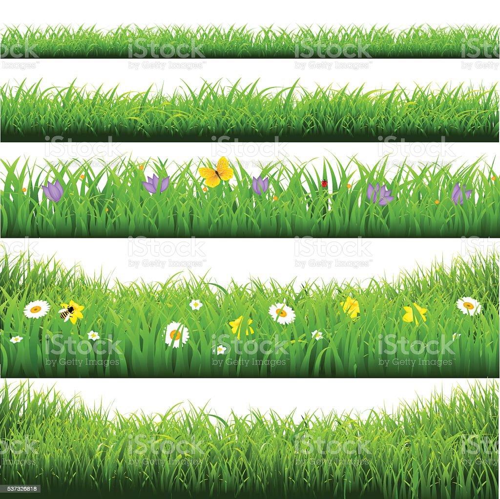 Green Grass Borders Big Set vector art illustration