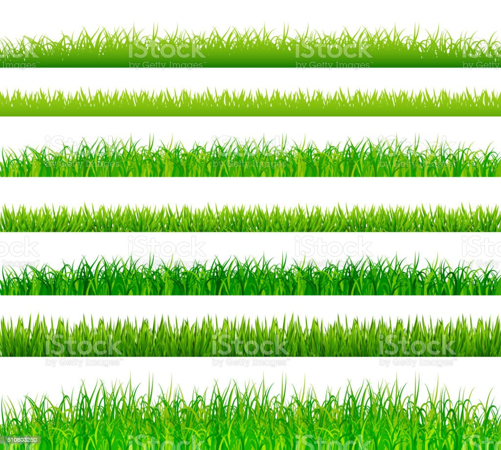 Green grass borders set vector art illustration