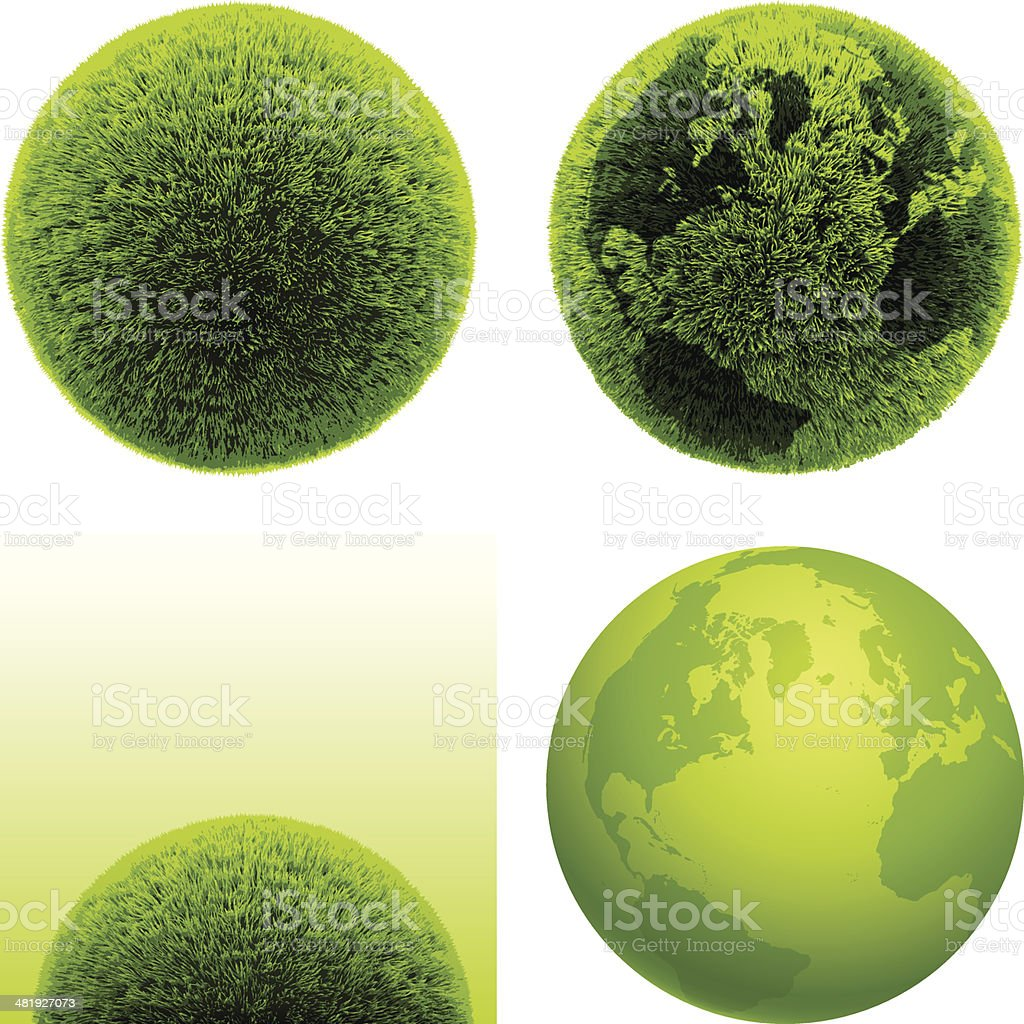 Green grass globes vector art illustration