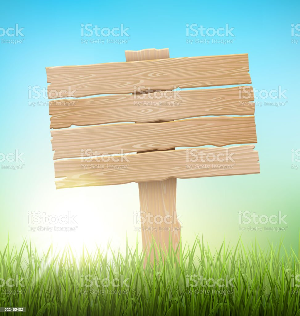Green Grass Lawn with Signpost and Sunrise on Blue Sky vector art illustration
