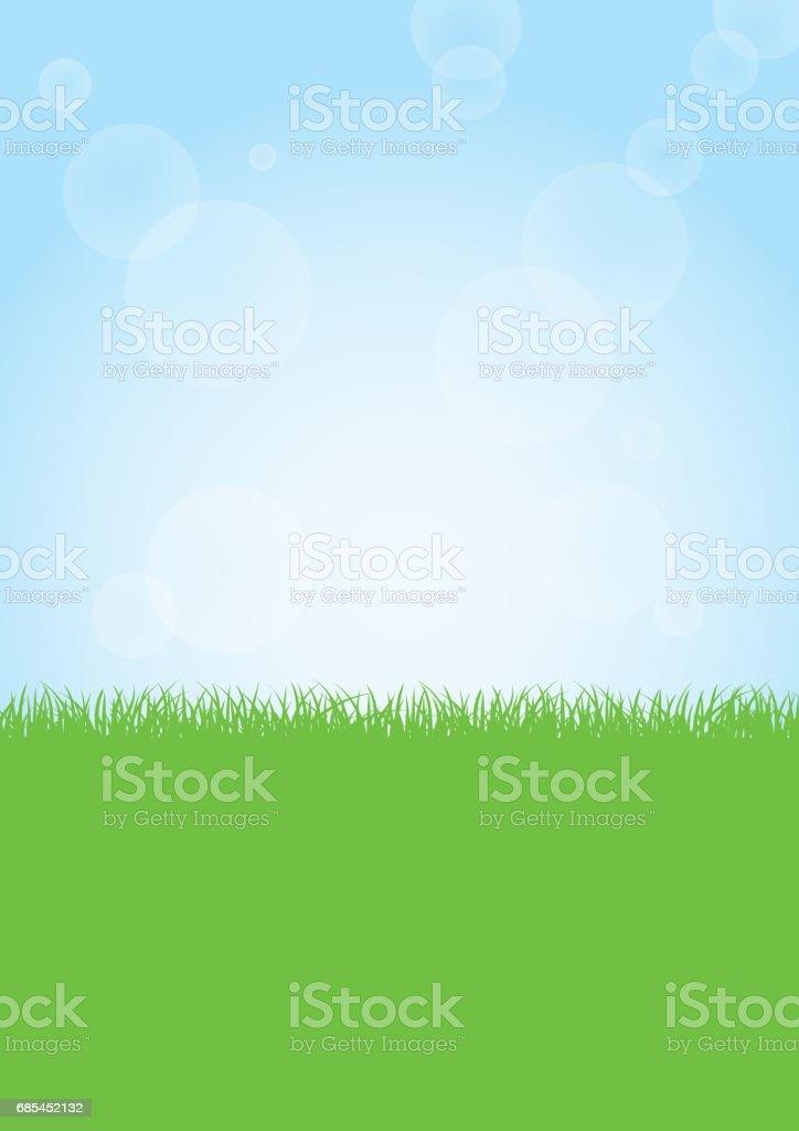 Green grass nature field and sunny blue sky background illustration vector art illustration