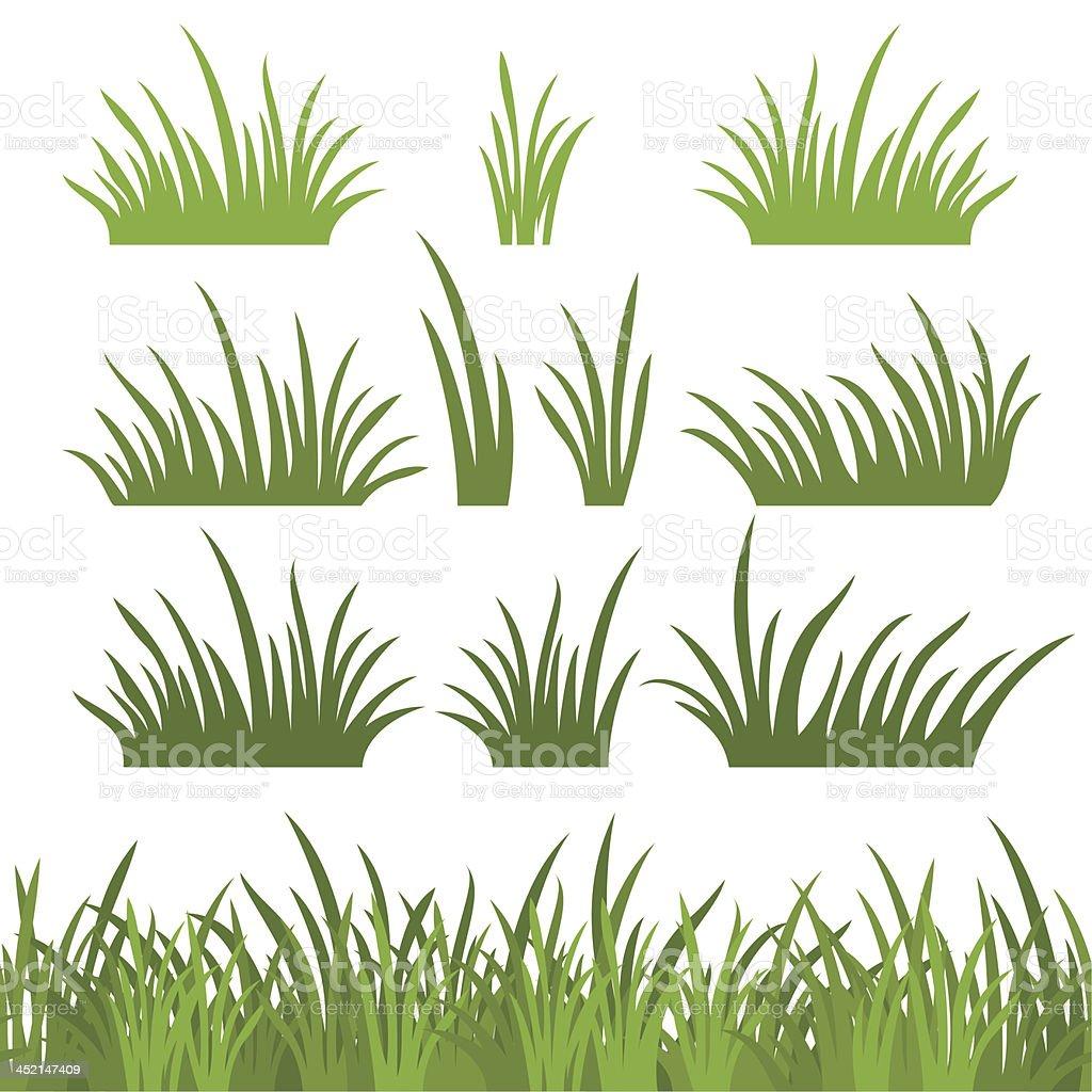 Green grass, seamless and set vector art illustration