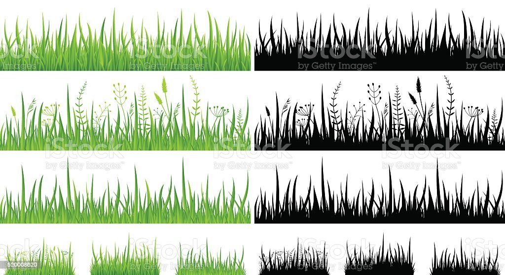 Green Grass - Seamless Pattern and Silhouettes - Illustration vector art illustration