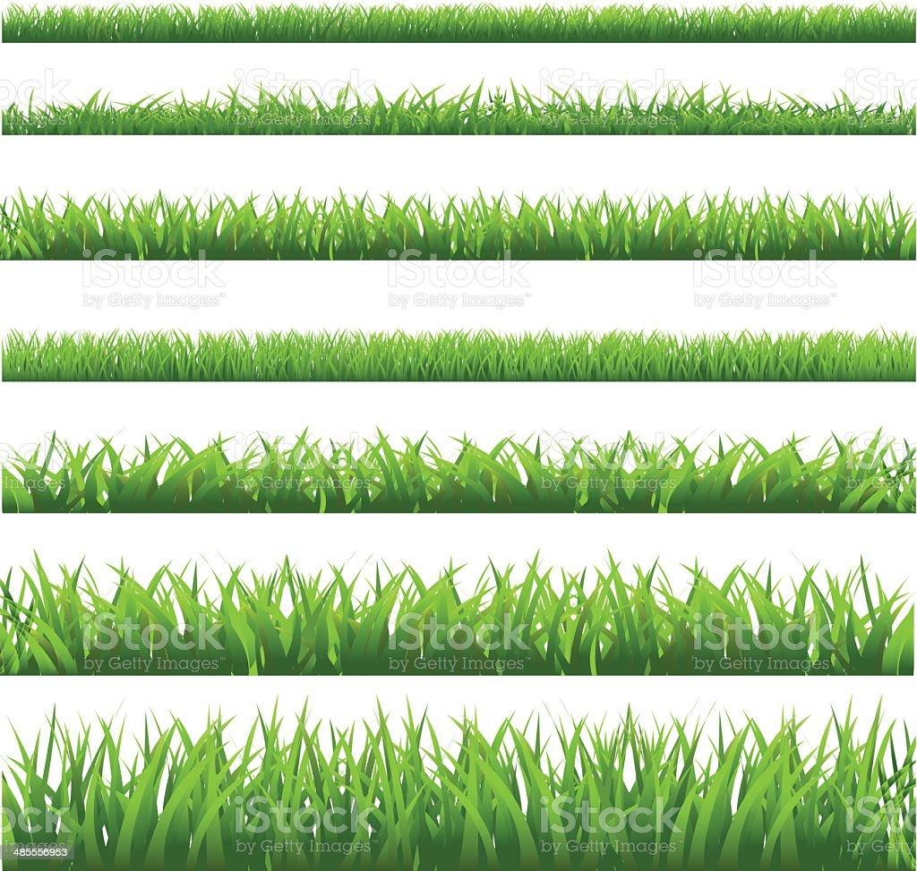 Green Grass Set vector art illustration