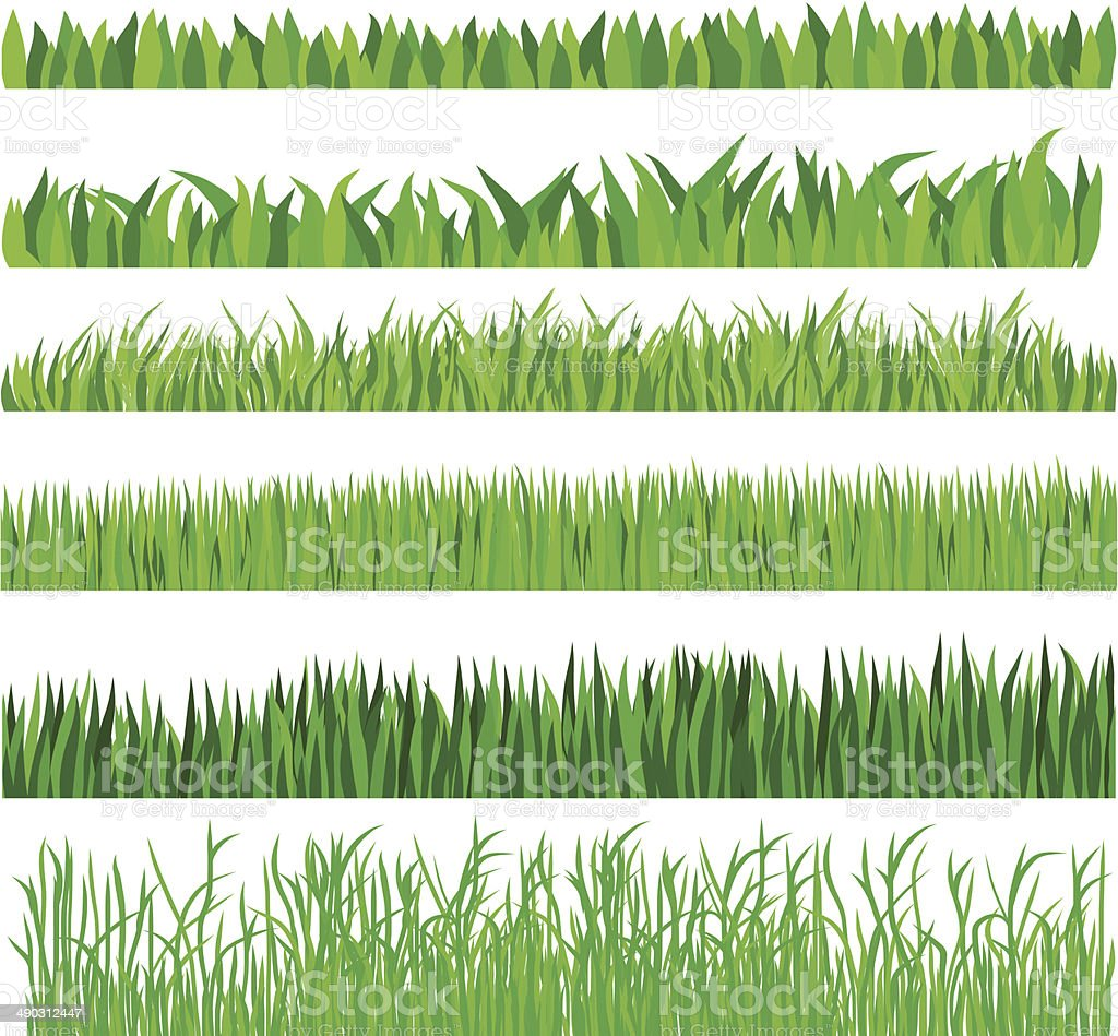 Green Grass Set,Hand drawn, vector art illustration