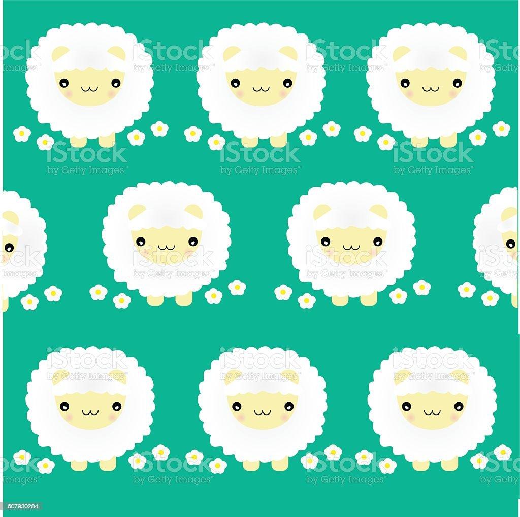 Green grass sheep vector pattern vector art illustration