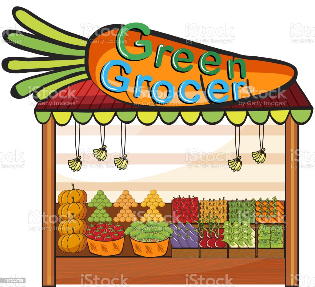 green grocer shop royalty-free stock vector art