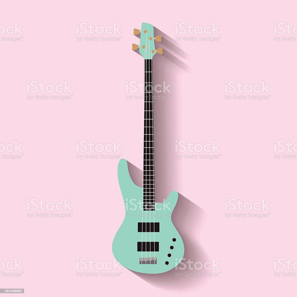 A green guitar icon on a pink background vector art illustration