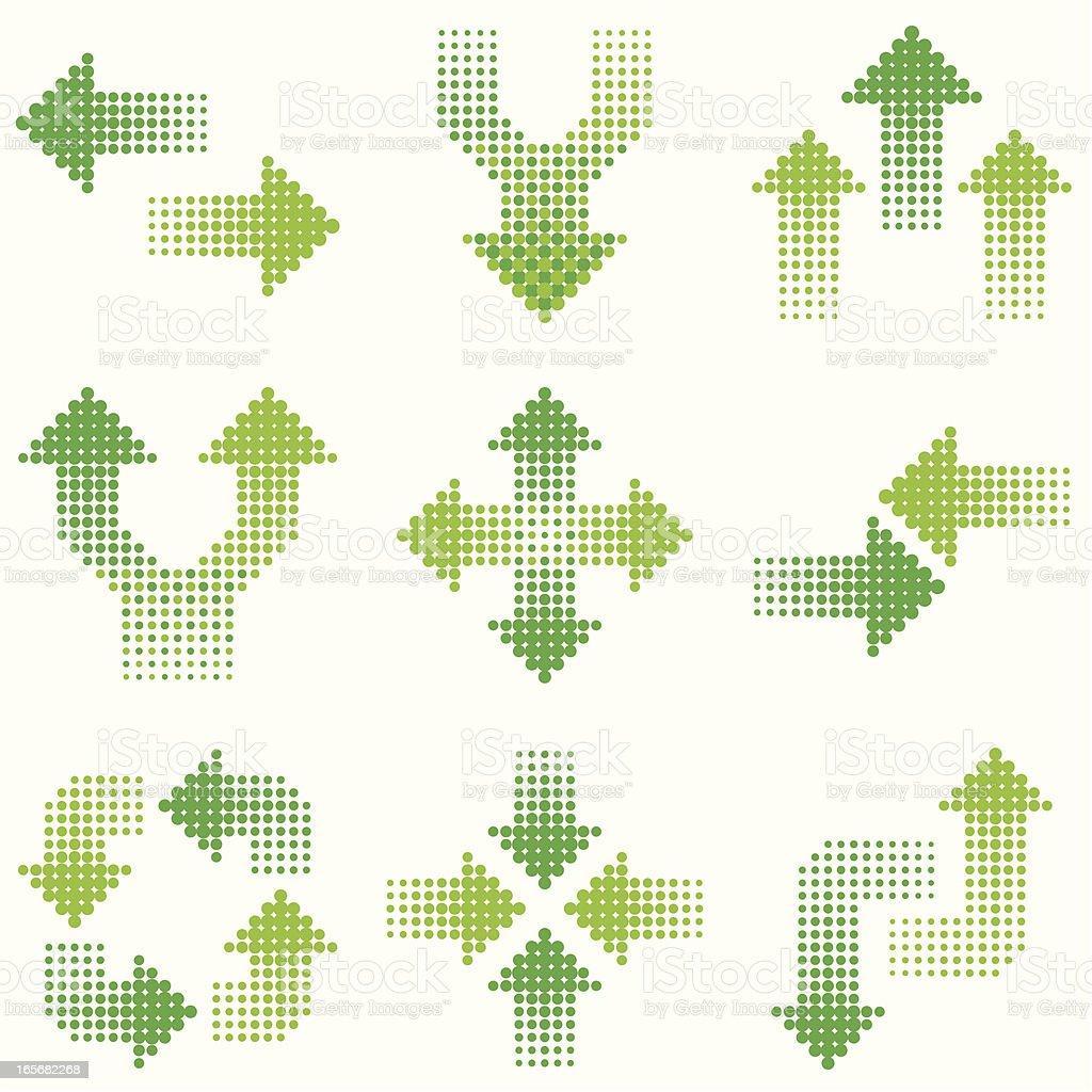 green halftone arrows vector art illustration
