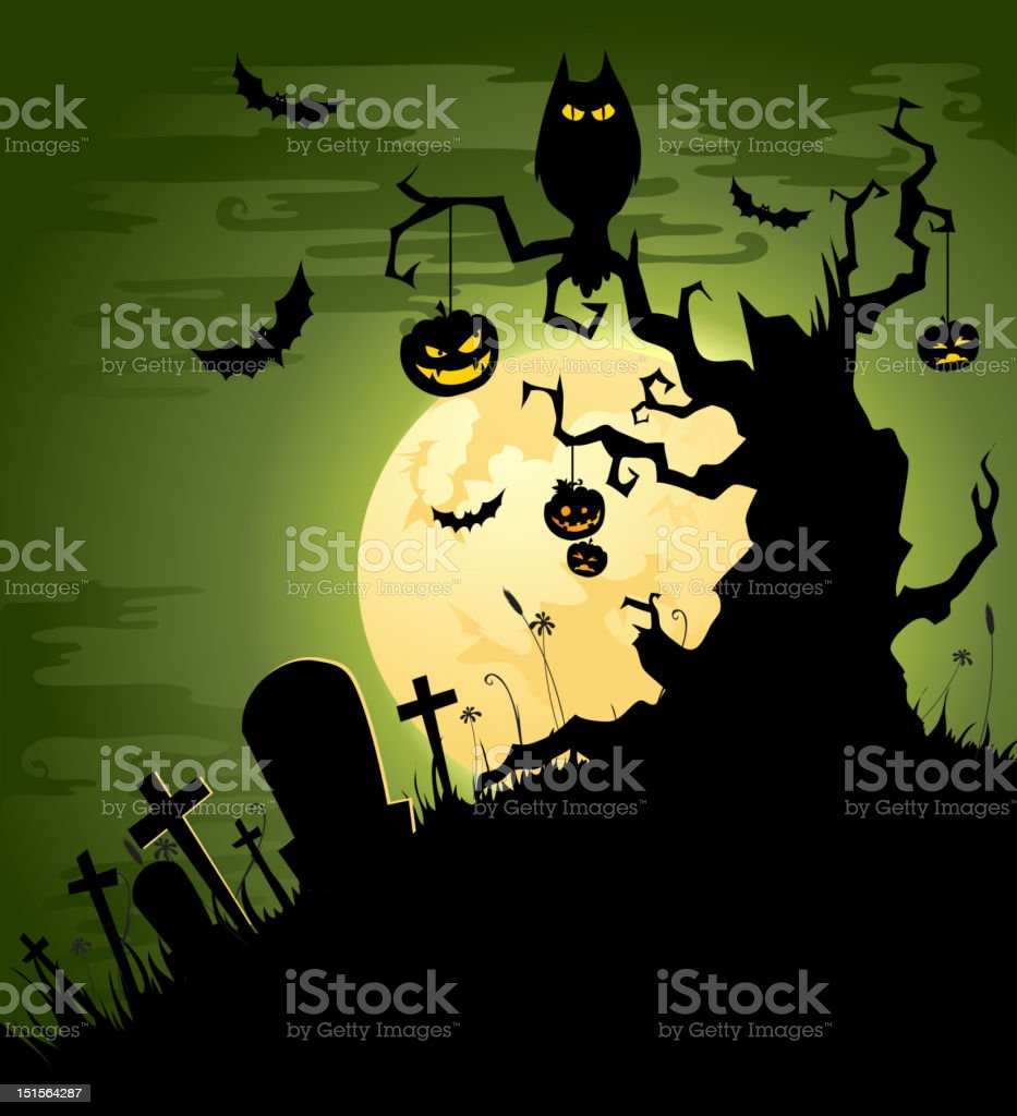 Green Halloween background royalty-free stock vector art