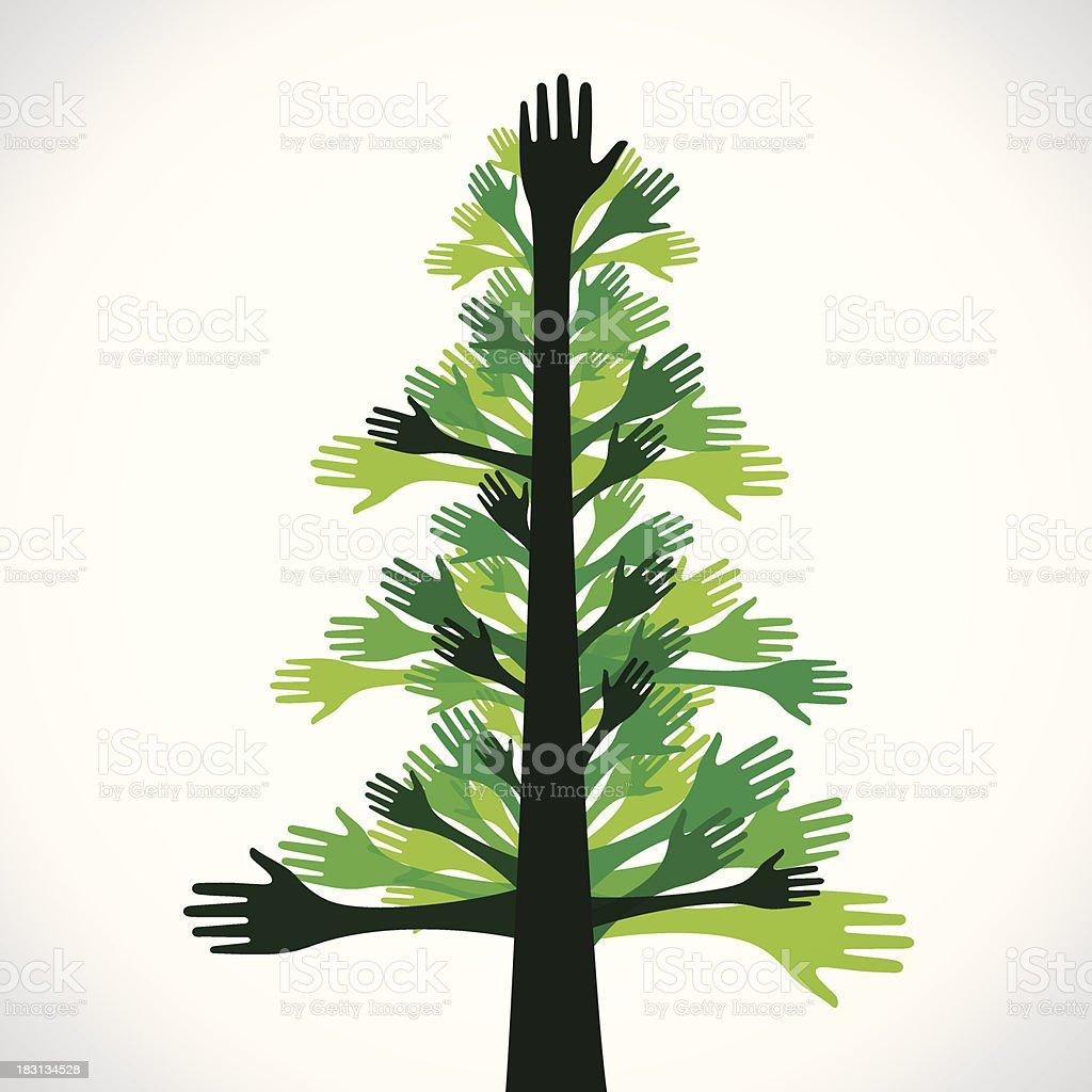 green hand tree royalty-free stock vector art