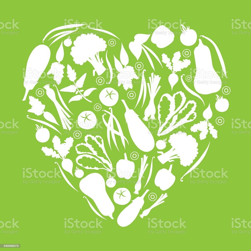 Green Healthy Eating Vegetable Heart vector art illustration