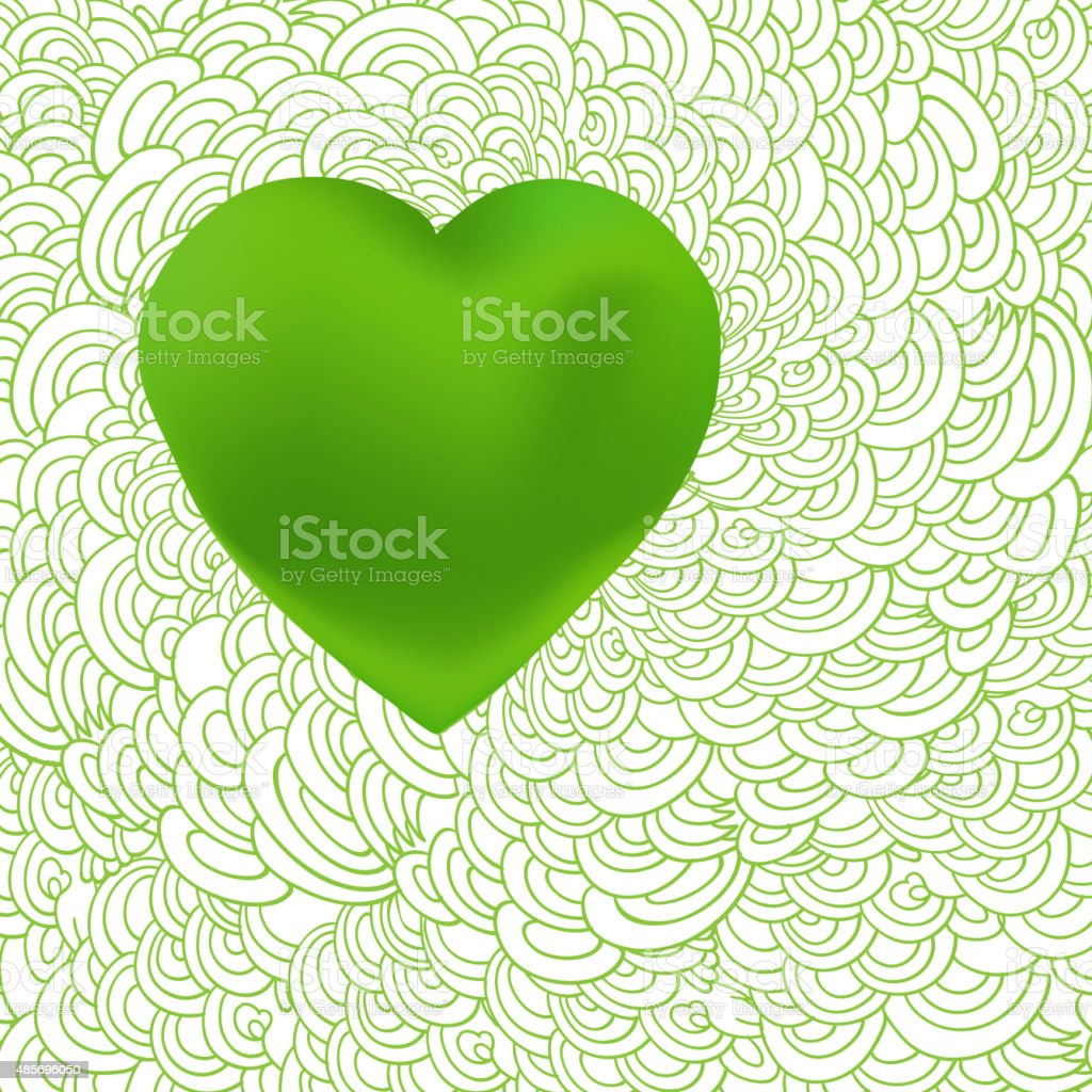 Green heart at waves of love vector art illustration