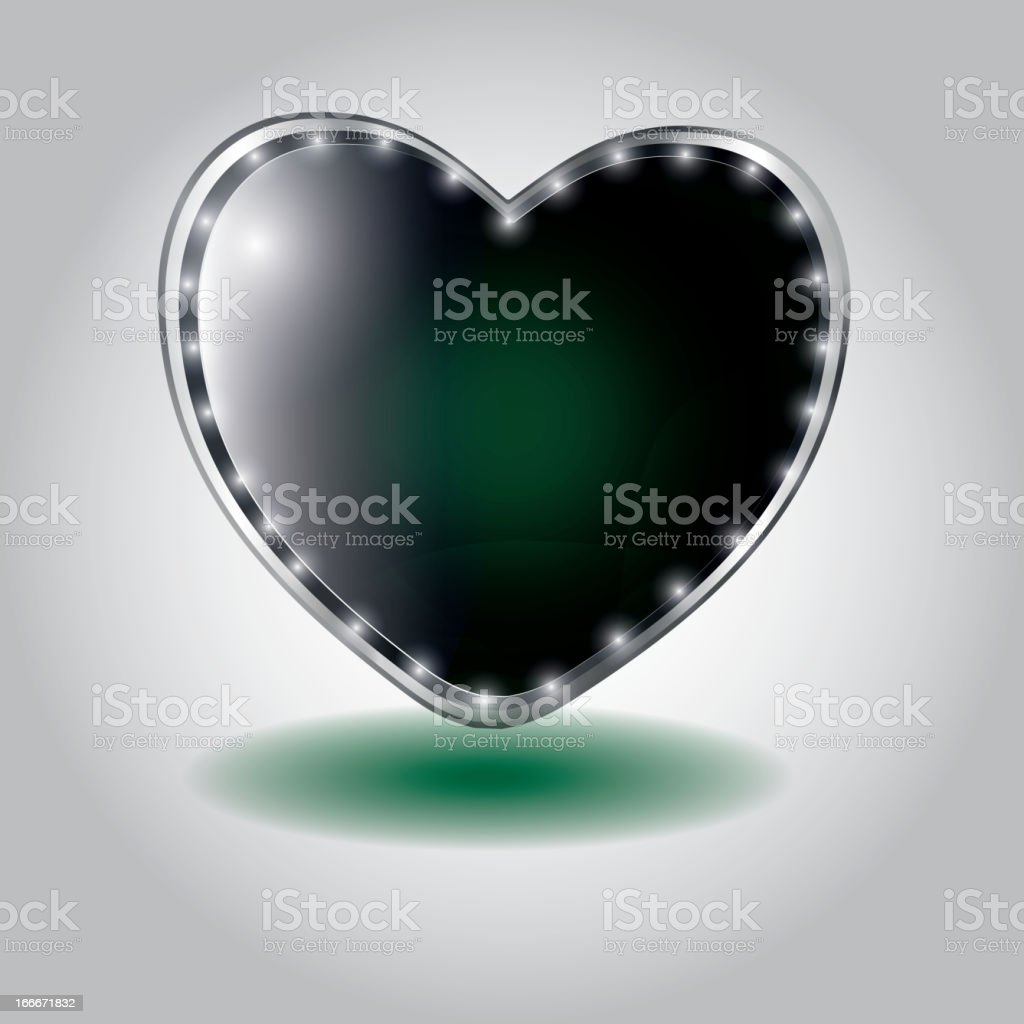 green heart shaped glass button. royalty-free stock vector art