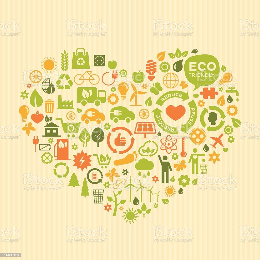 ECO green heart vector art illustration