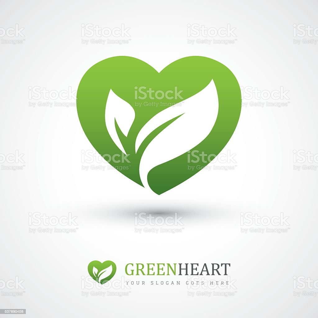 Green heart with leaves vector art illustration