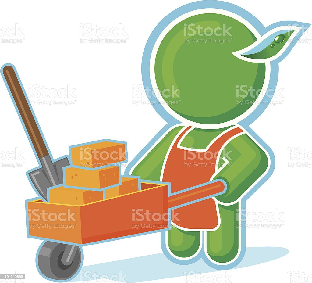Green Hero as a Builder with Cart of Bricks royalty-free stock vector art