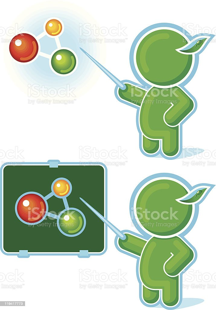 Green Hero as a Chemistry Teacher pointing at Molecule symbol royalty-free stock vector art