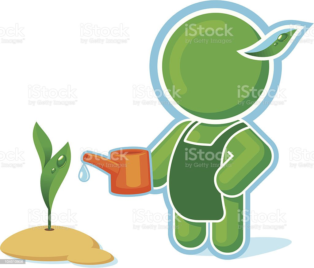 Green Hero watering The Plant royalty-free stock vector art