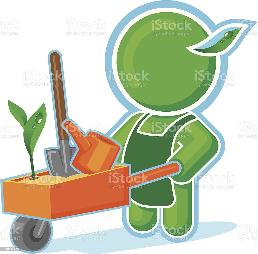 Green Hero with Garden Cart royalty-free stock vector art
