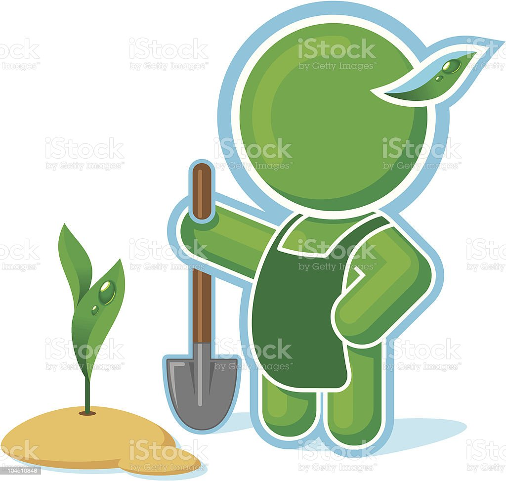 Green Hero working in the Garden royalty-free stock vector art