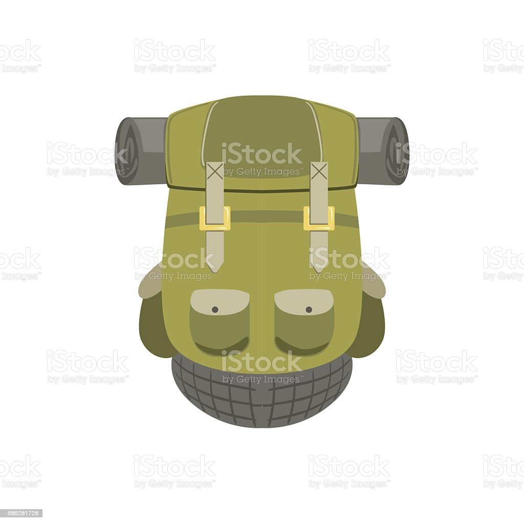 Green Hiking Backpack With Rolled Matrass vector art illustration