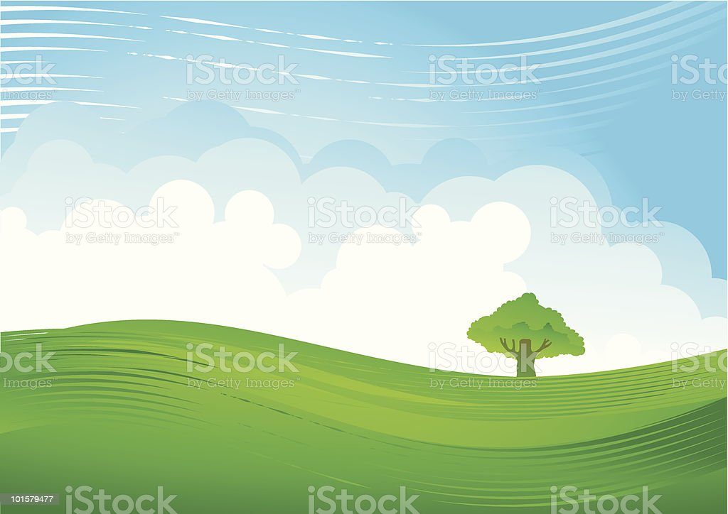 green hill and cloudy sky royalty-free stock vector art