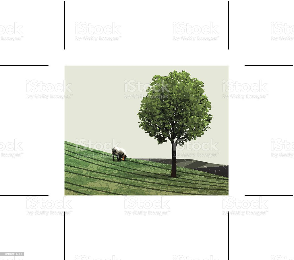 green hills with sheep and tree royalty-free stock vector art