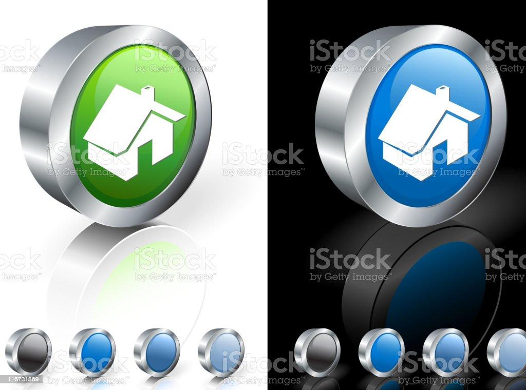 green home  3D icon vector art illustration