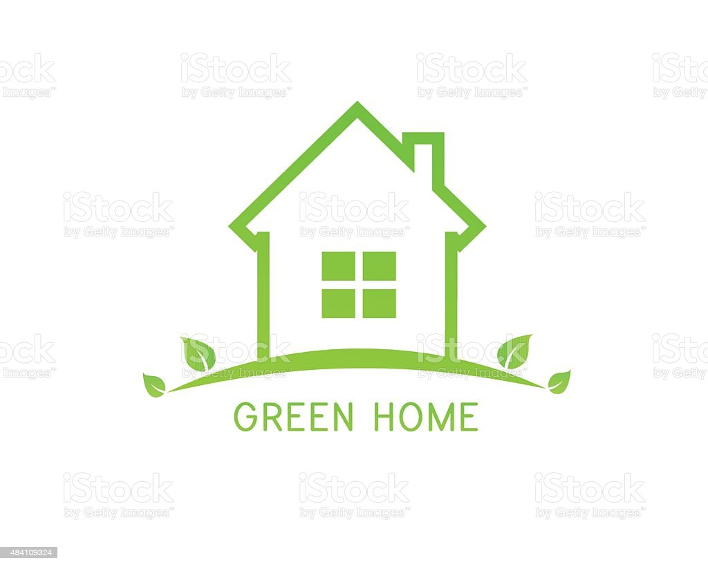 Green home design with leaves vector art illustration