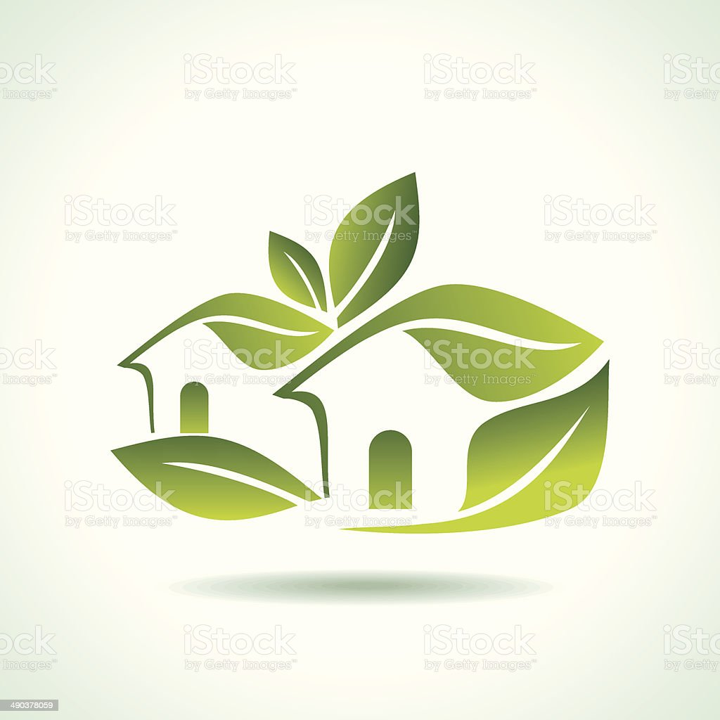 Green home icon on white background vector art illustration