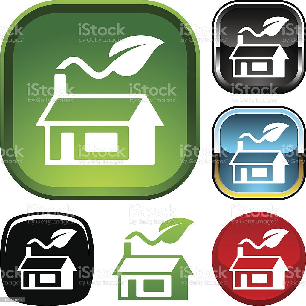 Green home icon vector art illustration