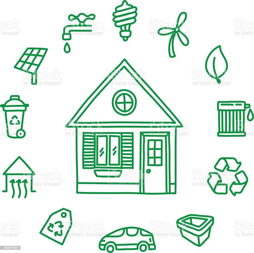 Green Home vector art illustration