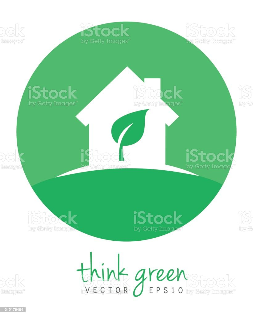Green home with leaf vector art illustration
