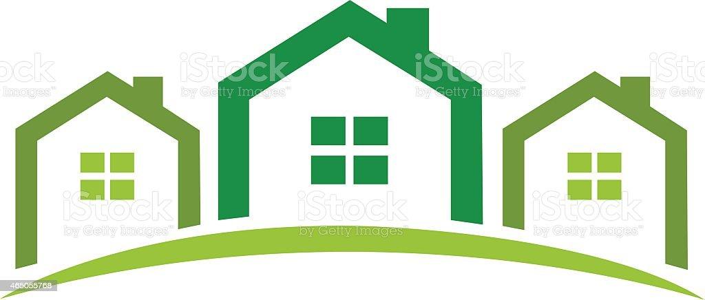 green homes vector art illustration