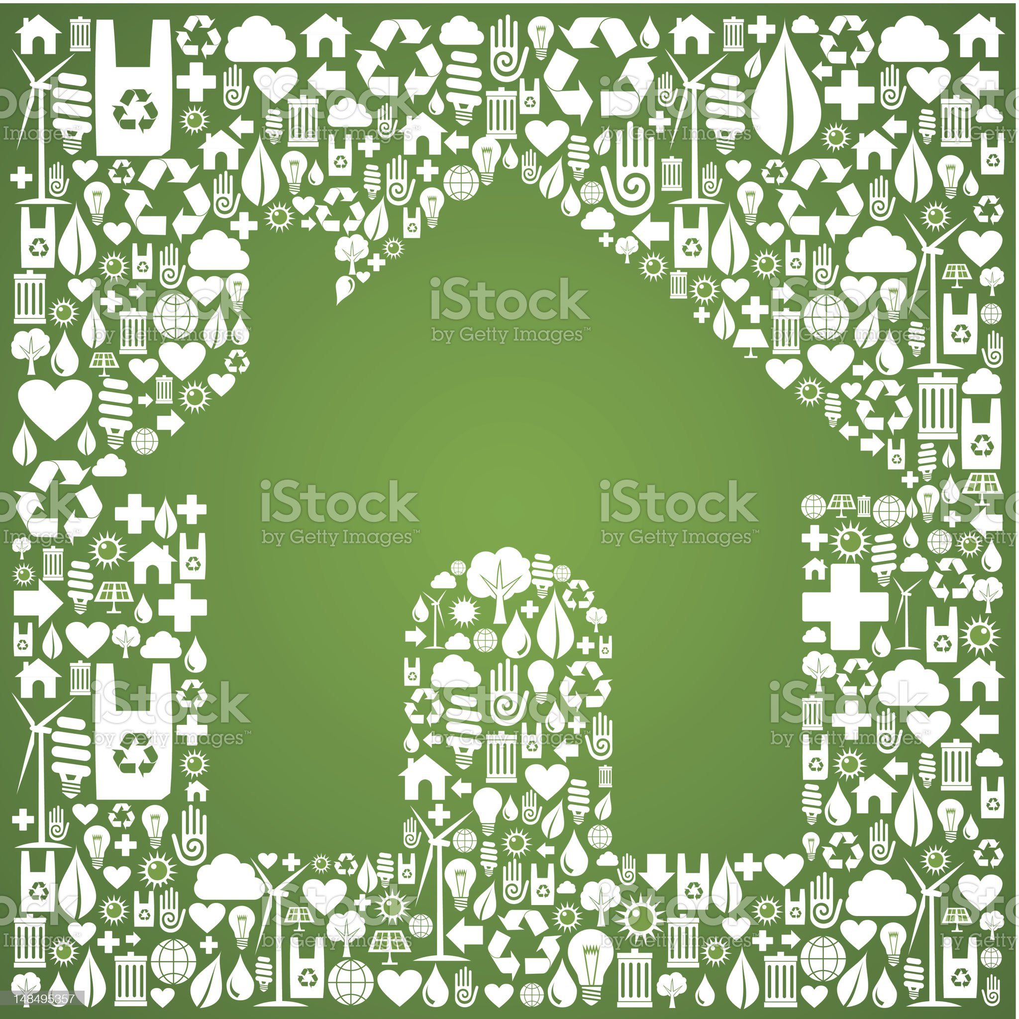 Green house over eco icons background royalty-free stock vector art