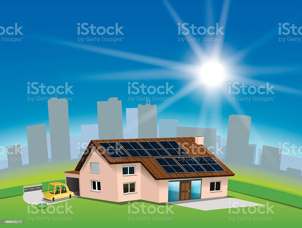 Green house vector art illustration