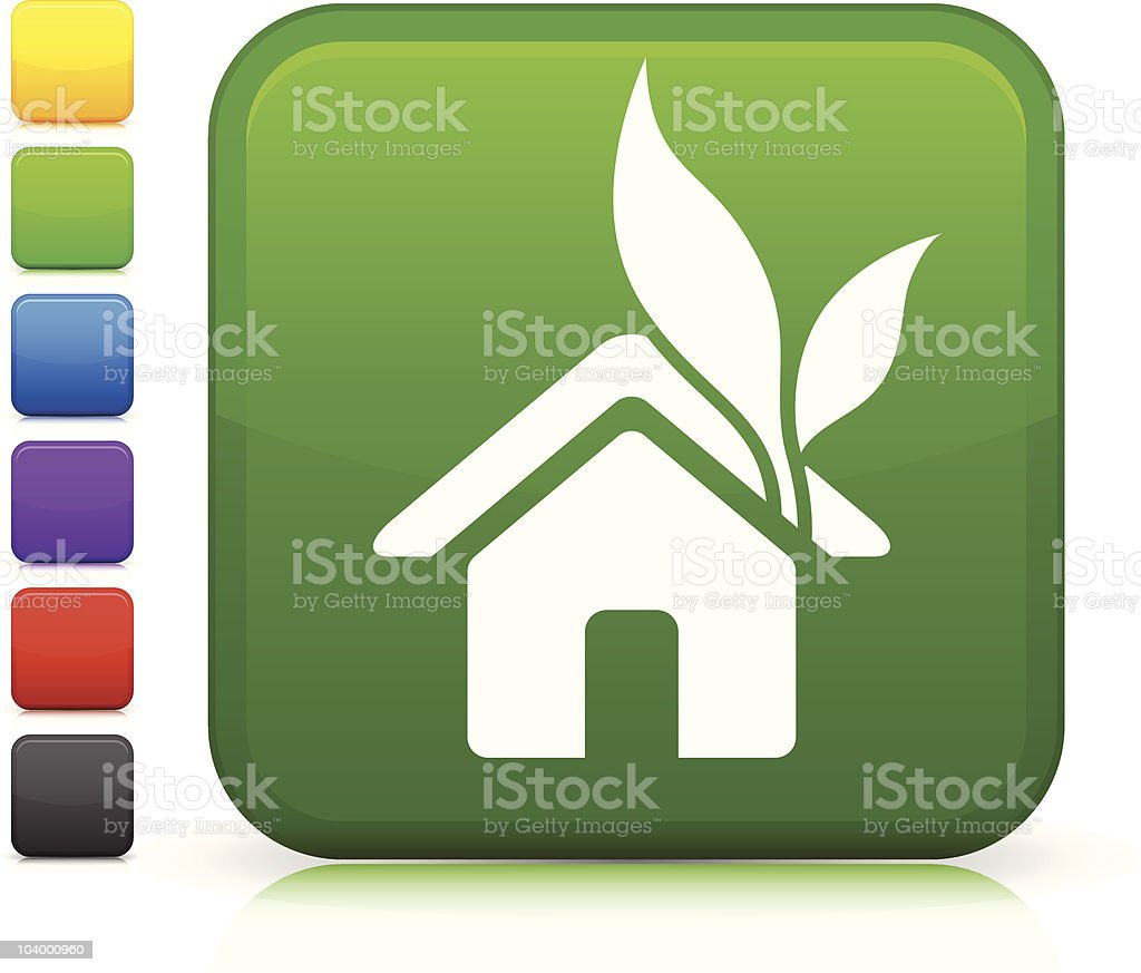 green housing square icon vector art illustration