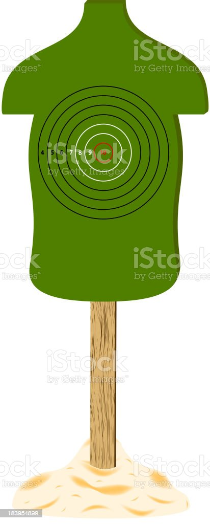 Green human target with wooden stand royalty-free stock vector art